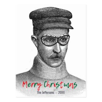 Postal Verde rojo de las Felices Navidad del hombre de