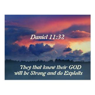 Postal Verso de la biblia del 11:32 de Daniel