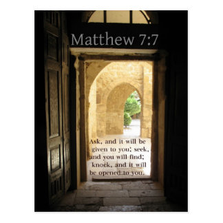 Postal Verso hermoso de la biblia del 7:7 de Matthew