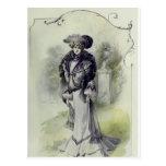 Postal Vestido Moda-Gris francés del Señora-Vintage del