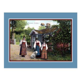 Postal Vestido tradicional 1900 del vintage Ca Skansen
