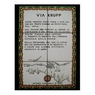 Postal vía la baldosa cerámica de Krupp, Capri - Italia