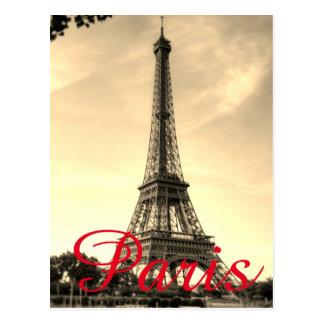 Postal Viaje de la ciudad del amor de París de la torre