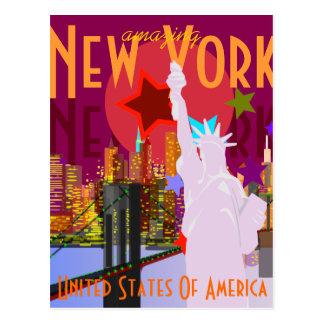 Postal Viaje de Nueva York del vintage