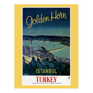 Postal Viaje de oro de Estambul Turquía del cuerno del