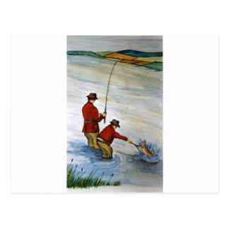 Postal Viaje de pesca del padre y del hijo