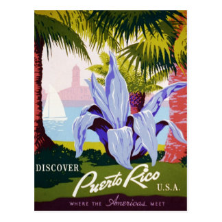 Postal Viaje de Puerto Rico del vintage - art déco