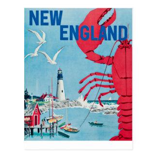 Postal Viaje del faro de la langosta de Nueva Inglaterra
