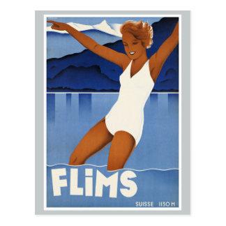 Postal Viaje del vintage de Flims Suiza