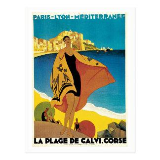 Postal Viaje mediterráneo de París Lyon del vintage
