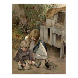 Postal Victorian del vintage y lindo: Niños y conejos de