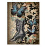 Postal victorian floral del negro del amante del zapato