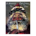 Postal victoriana de Navidades Santa