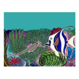 Postal Vida marina en el diseño del filón
