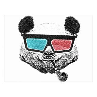 Postal Vidrios tridimensionales de la panda del vintage