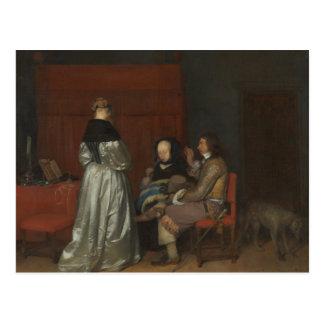 Postal Vieja conversación Borch de la pintura