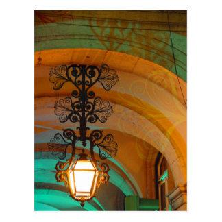 Postal vieja de la lámpara de Lisboa