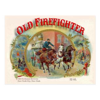 Postal vieja del bombero de la era del Victorian