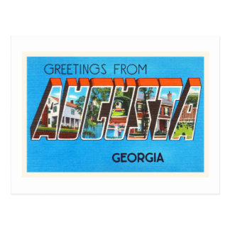 Postal vieja del viaje del vintage de Augusta