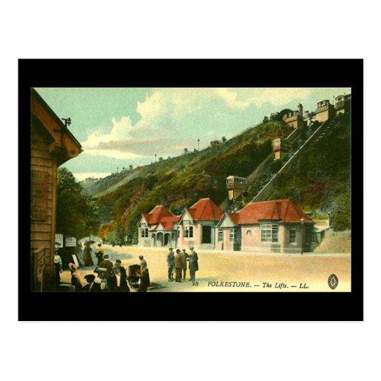 Postal vieja - las elevaciones, Folkestone, en