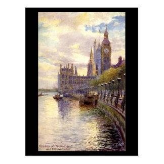 Postal vieja - Londres, el parlamento y el