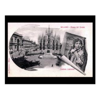 Postal vieja - Milano, Piazza del Duomo