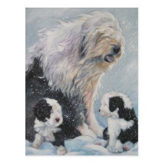 Postal Vieja pintura inglesa del perro pastor del