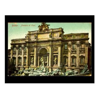 Postal vieja, Roma, Fontana di Trevi en 1908