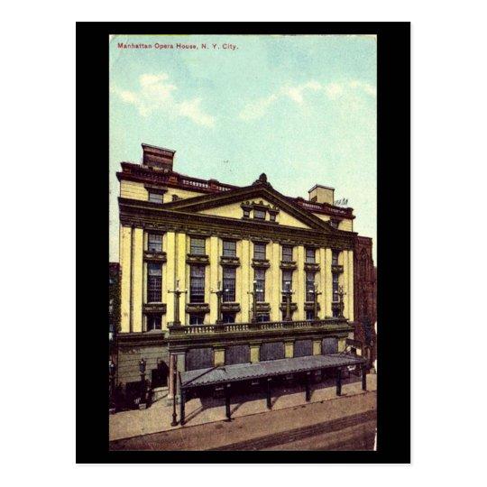 Postal vieja - teatro de la ópera de Manhattan,