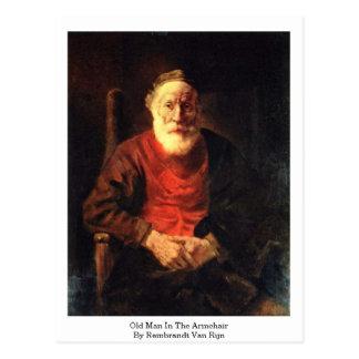 Postal Viejo hombre en la butaca de Rembrandt Van Rijn