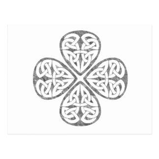 Postal viejo nudo del celtic del trébol de la pintura