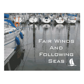 Postal Vientos justos y frase de siguiente de los mares