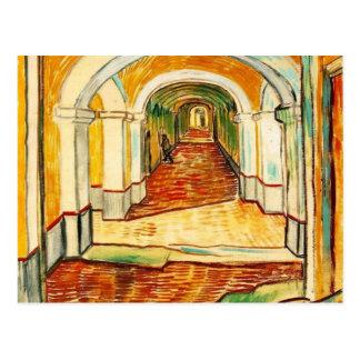 Postal Vincent van Gogh - pasillo en el asilo