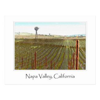 Postal Viñedo de Napa Valley con el molino de viento