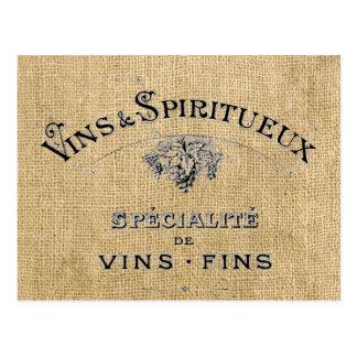 Postal Vino francés en la arpillera