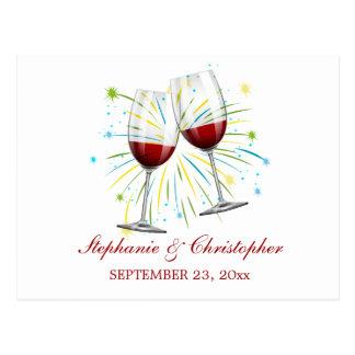 Postal Vino rojo de Borgoña/el casarse de los vidrios de