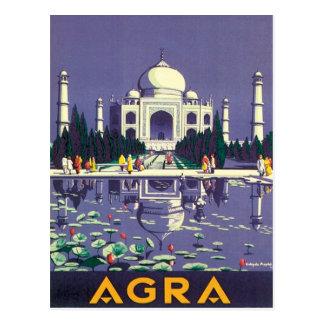Postal Vintage Agra el Taj Mahal la India