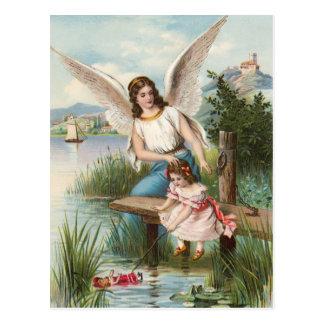 Postal Vintage ángel gel de protección con chicas