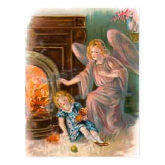 Postal Vintage ángeles, gel de protección fuego chica y