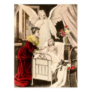 Postal Vintage ángeles gel de protección, madre niño y a