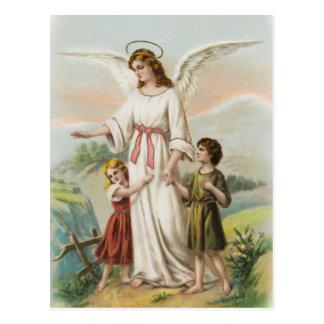 Postal Vintage ángeles gel de protección niño y dos