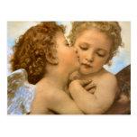 Postal Vintage ángeles victorianos, primer beso de Bougue