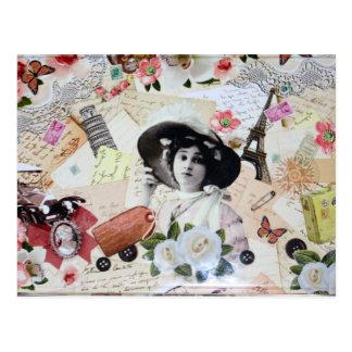 Postal Vintage años 20 de la elegante mujer con sombrero