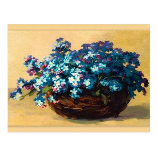 Postal Vintage azul flor
