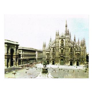 Postal Vintage catedral de Italia, Milano