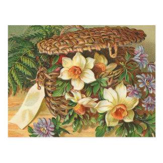 """Postal """"Vintage de la cesta de la flor de la primavera"""""""