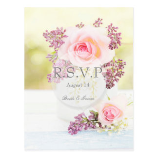 Postal Vintage de las lilas y de los rosas que casa RSVP