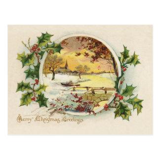 Postal Vintage de los saludos de las Felices Navidad