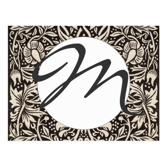 Postal Vintage del estampado de flores del narciso de