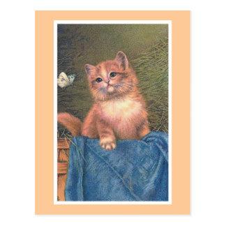 """Postal """"Vintage del gatito y de la mariposa del jengibre"""""""